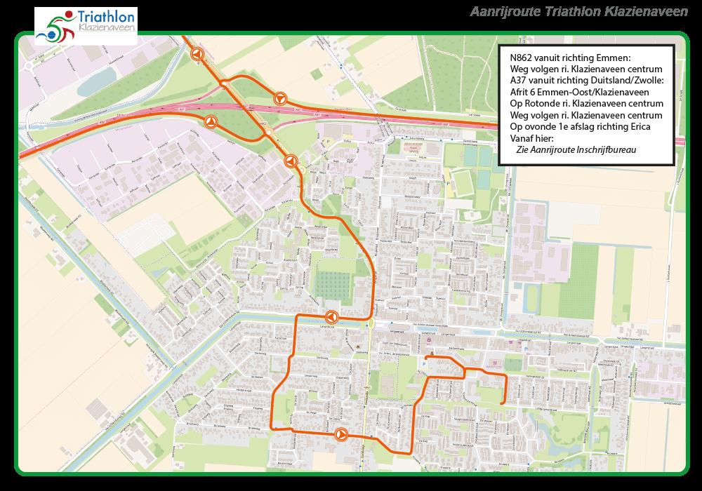 Aanrijroute triathlon vanaf A37