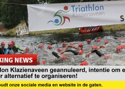 Wijziging Triathlon Klazienaveen i.v.m. COVID-19